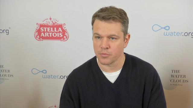 """On World Water Day, Matt Damon talks about his charity water.org, and offers George Clooney some advice on fatherhood, praising his friend's """"incredible wife."""" (March 23)"""