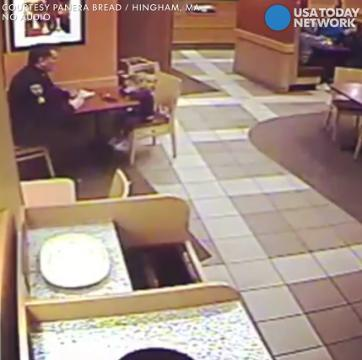 A Massachusetts police officer sat down to dinner by himself at a local Panera Bread. Little did he know, he wouldn't be alone for long.