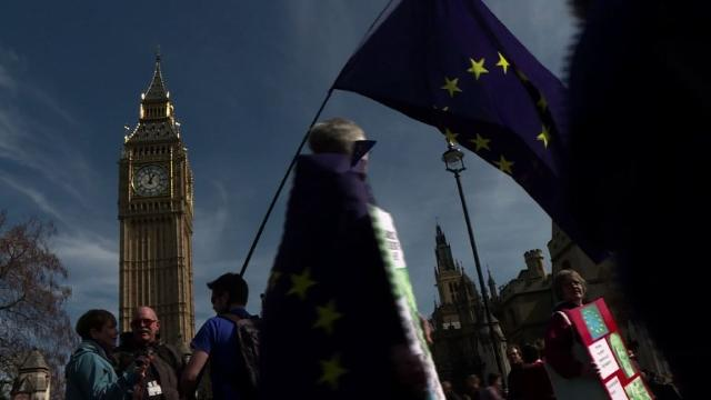Tens of thousands of pro-EU protesters take to London's streets, in defiance of the terror threat, to mark the bloc's 60th anniversary just days before Brexit begins.