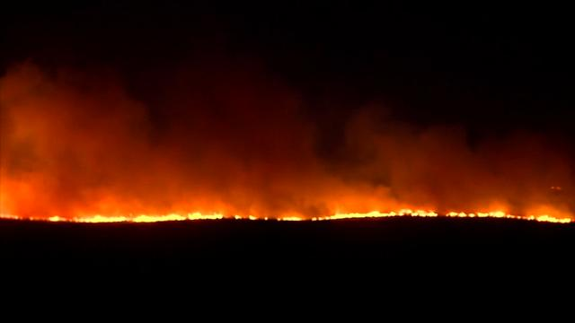 A fast-moving wildfire is burning in the far northeastern corner of the Texas panhandle. Late Thursday night, state fire officials reported that the fire had burned 40,000 and that it was 10 percent contained. (March 24)