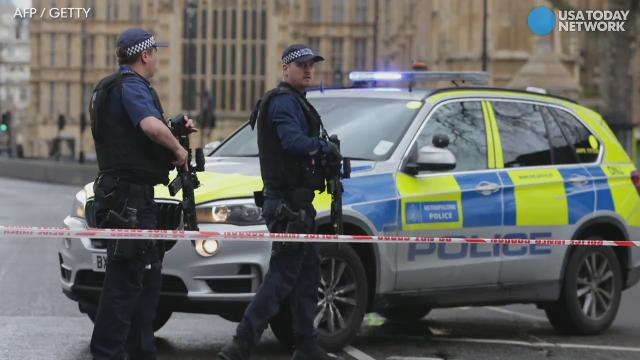 An attacker mowed down pedestrians on Westminster Bridge with a car and stabbed a police officer near Parliament before being shot dead. A previous version of the video misidentified the attacker's gender, which has not yet been confirmed.