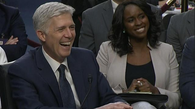 Supreme Court Nominee Judge Neil Gorsuch accidentally says 'bigly' during his Senate confirmation hearing.