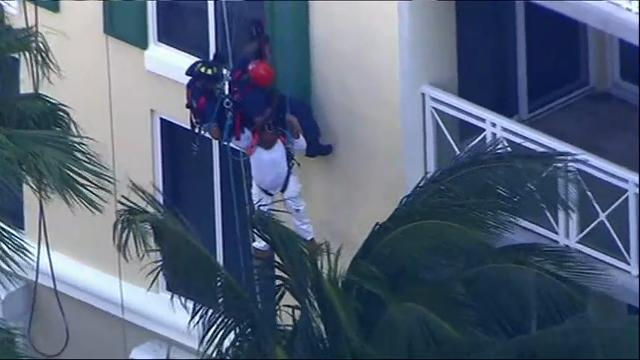 Members of the Miami Fire-Rescue Department had to rescue a man down twelve stories Thursday afternoon after a scaffolding collapse at a Key Biscayne resort. (March 23)