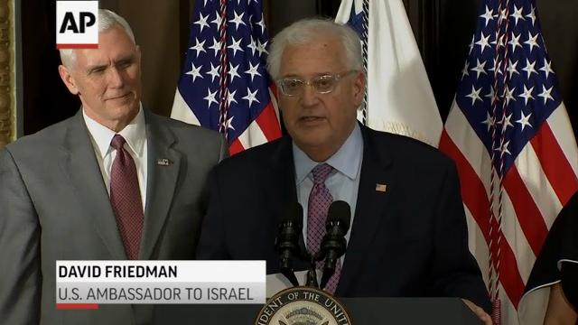 Bankruptcy attorney David Friedman has been sworn in as U.S. envoy to Israel, becoming President Donald Trump's first ambassador to take office. (March 29)