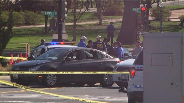 Police say a driver struck a U.S. Capitol Police cruiser near the U.S. Capitol and was taken into custody. (March 29)