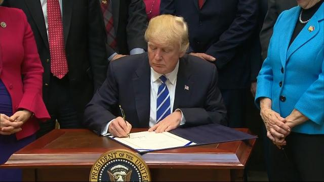President Donald Trump is signing a handful of measures aimed at rolling back Obama-era regulations. Two roll back rules that deal with how states assess school performance and teacher preparation programs. (March 27)
