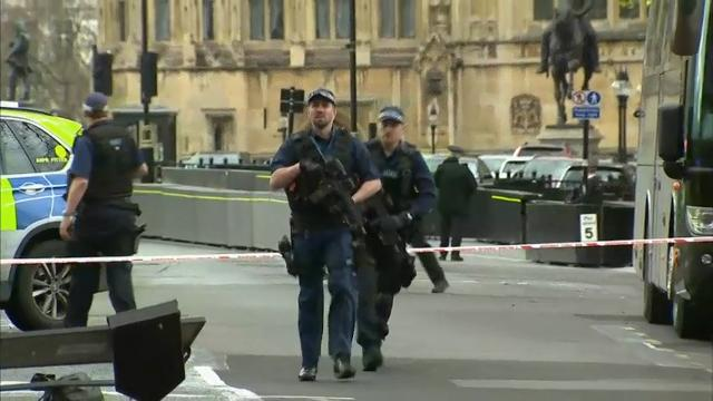 """The leader of Britain's House of Commons says a man has been shot by police at Parliament. David Liddington also said there were """"reports of further violent incidents in the vicinity."""" (March 22)"""
