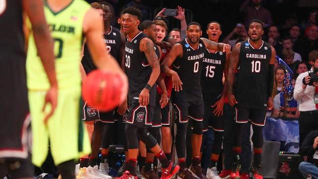 South Carolina used a stifling defense to defeat the Baylor Bears and reach the Elite Eight for the first time in school history.