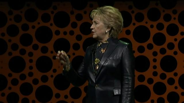 """Hillary Clinton spoke to a sold-out crowd in San Francisco on Tuesday for one of her first public speeches since losing the 2016 presidential race. """"There is no place I'd rather be than here with you, other than the White House,"""" Clinton said. (March 28)"""