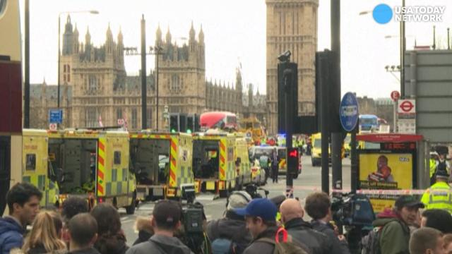 An attacker mowed down pedestrians on Westminster Bridge with a car and stabbed a police officer near Parliament before being shot dead. Multiple people are dead, and at least 20 others are injured.