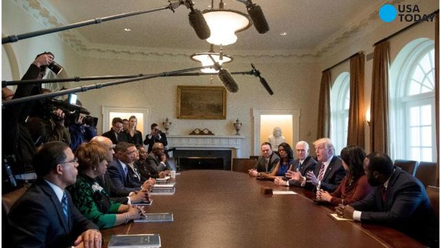 """Calling the sit-down a """"positive"""" first step toward finding common ground, leaders of the Congressional Black Caucus met with President Donald Trump on Wednesday about infrastructure and reducing urban crime."""