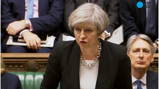 "Speaking before the the House of Commons, British Prime Minister Theresa May said ""Our resolve will never waiver in the face of terrorism."""