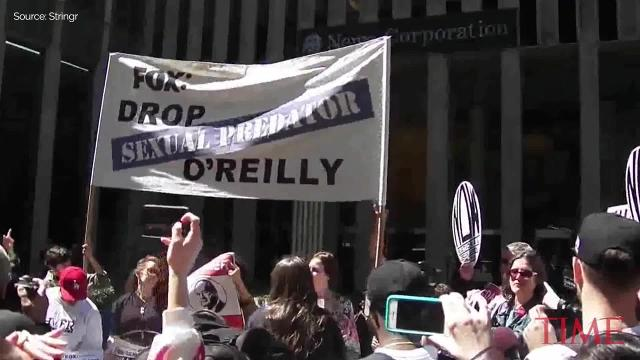 Bill O'Reilly protest outside Fox News headquarters in NYC