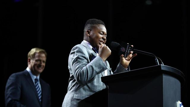 T.J. Onwuanibe, an eighth-grader with a rare form of brain cancer, announced the Ravens' first-round draft pick as part of the Make-A-Wish Foundation.