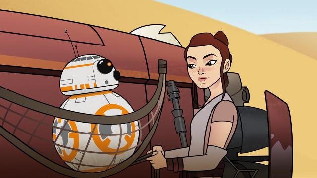 Daisy Ridley reprises her 'Force Awakens' role as Rey in new animation as part of 'Star Wars Forces of Destiny.'