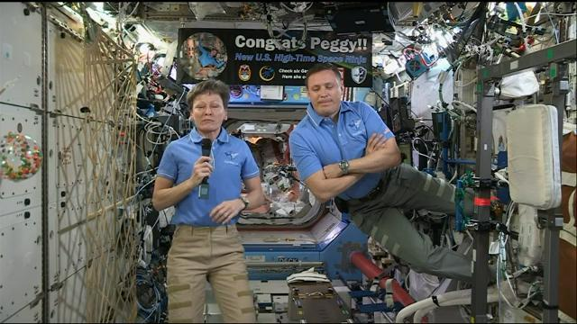 President Donald Trump made a very long distance phone call to the International Space Station, to congratulate its commander on breaking the record for the most time spent in space of any American astronaut. (April 24)