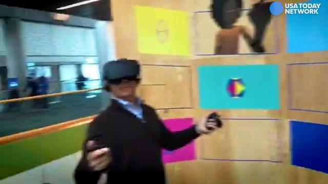 USA TODAY's Marco della Cava and Jennifer Jolly try out Spaces, with cartoon avatars inside virtual locations, at Facebook's F8 conference.