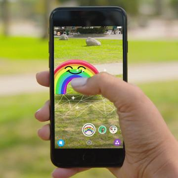 A demonstration of Snapchat's New World Lenses filter that lets you add 3D objects to photos.