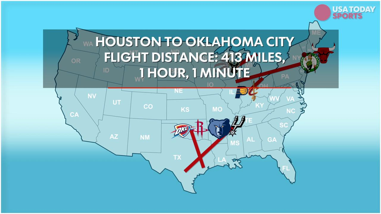 How far NBA teams are traveling for Game 3