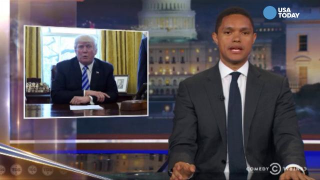 The late-night comics take a look at President Trump's red button and Melania Trump's birthday. After you watch our favorite jokes, vote for yours at opinion.usatoday.com.