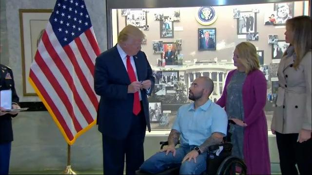President Donald Trump has awarded a Purple Heart to an Army sergeant recently wounded in Afghanistan. (April 22)