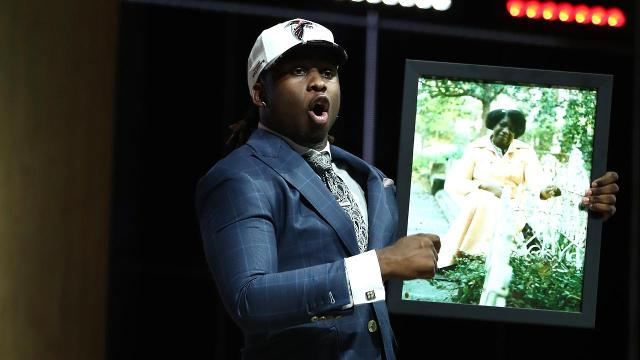Takk McKinley gave a passionate speech after being drafted by the Atlanta Falcons in the first round.