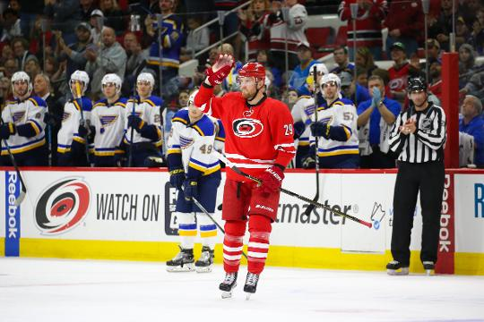 The Hurricanes' Bryan Bickell, who is retiring due to an MS diagnosis, scored a shootout goal in his final game.