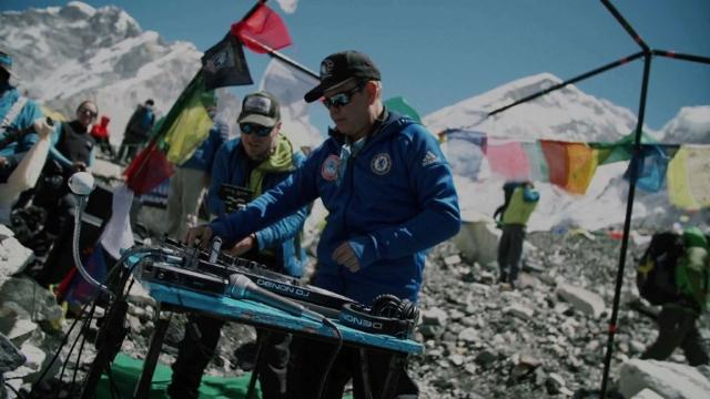 "Top British DJ Paul Oakenfold braves thinning air and freezing temperatures to host the ""highest party on earth"" at Everest base camp, playing to around 100 climbers.