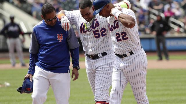 The injury woes continue for the Mets as slugger Yoenis Cespedes left the game against the Braves with a hamstring injury.
