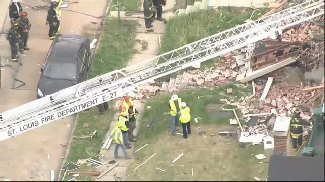 Fire officials are responding to a house explosion in north St. Louis, Missouri Wednesday morning that leveled a home. Authorities say there were no injuries reported. (April 26)