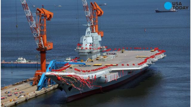 The 50,000-ton carrier was launched during a ceremony Wednesday.