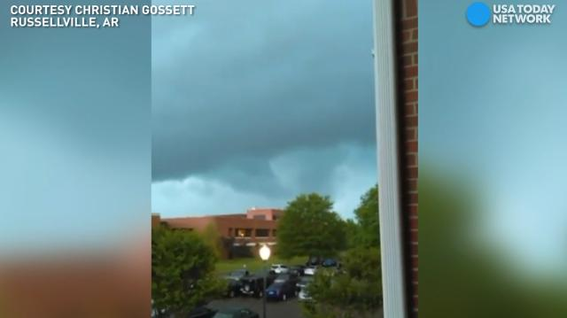 Christian Gossett's camera was rolling as a funnel cloud and possible tornado came near the Arkansas Tech University campus in Russellville, Arkansas.