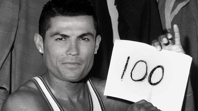 Real Madrid's Cristiano Ronaldo became the first player to score 100 career goals in the Champions League on Tuesday, setting the mark with a hat trick against Bayern Munich.
