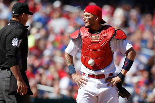 Molina has always had a knack for catching baseballs, but in this strange incident the ball caught him.