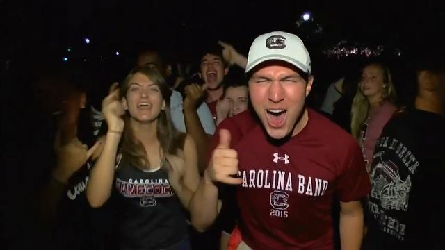 University of South Carolina fans celebrated after the Gamecocks won the women's NCAA basketball championship. The team defeated Mississippi State 67-55 on Sunday night. (April 3)
