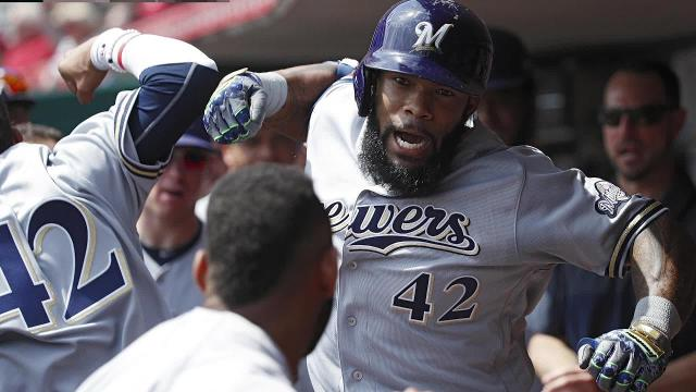 Milwaukee Brewers star Eric Thames set a franchise record for April home runs after hitting his 11th of the month on Tuesday night, and was drug tested after the Brewers' 9-1 win over the Reds.