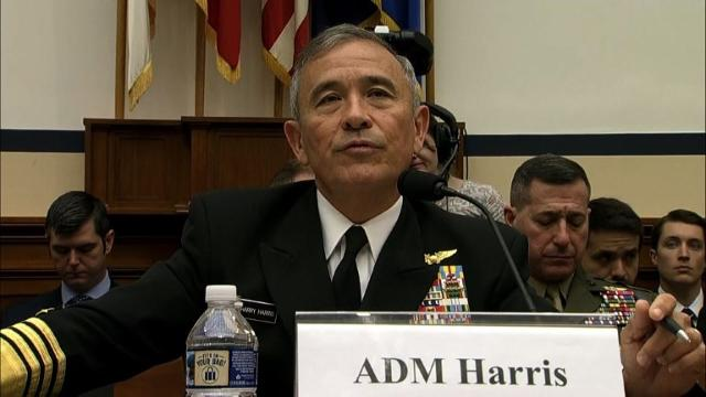 Admiral Harry Harris, who heads Pacific Command, tells lawmakers in Washington that the military strike group sent to South Korea is 'capable of defending against ballistic missile attacks' from North Korea.