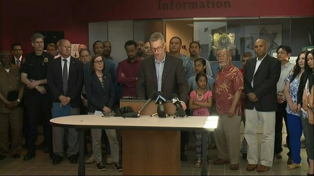 """Portland Mayor Ted Wheeler described as """"heroes"""" the two men who were fatally stabbed on a commuter train when they intervened as a man yelled racial slurs at two young women.  The suspect was arrested shortly after the attack. (May 27)"""