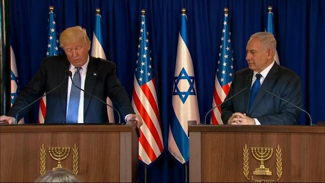 """Standing next to Israeli Prime Minister Benjamin Netanyahu, President Donald Trump said he has seen, """"many hopeful signs"""" that """"we can truly achieve a more peaceful future"""" for the Middle East and people of all faiths. (May 22)"""