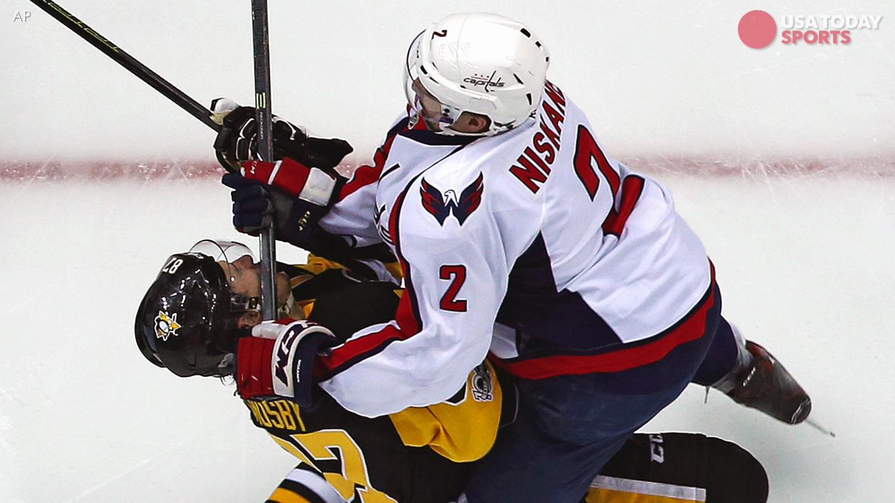 Penguins star Sidney Crosby will miss Game 4 with a concussion after taking a crosscheck to the face from Washington defenseman Matt Niskanen in Game 3
