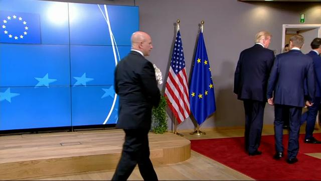 President Donald Trump is meeting with European Union leaders. Trump arrived at European Union headquarters Thursday morning. He was greeted by European Council President Donald Tusk. (May 25)
