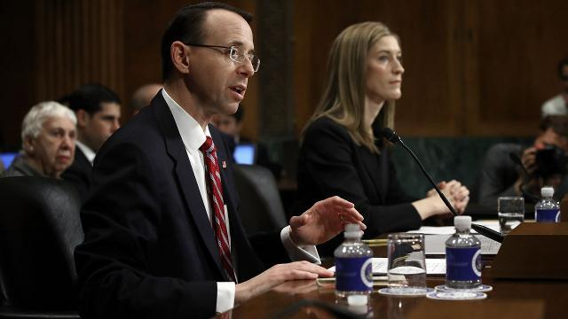 Rod Rosenstein says he talked to then-Sen. Jeff Sessions about firing James Comey last winter. Video provided by Newsy