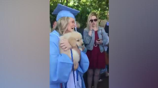 Paige Johnson had a priceless reaction at her college graduation when her boyfriend showed up with a furry, four-legged surprise.