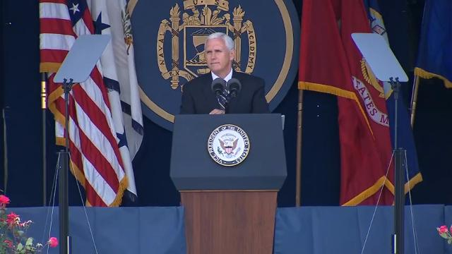 """Vice President Mike Pence told the graduating class at the U.S. Naval Academy Friday that President Trump will 'always have your back,' and he said the """"era of budget cuts of the armed forces of the United States is over."""" (May 26)"""