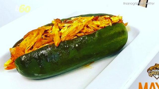 Baseball season means a whole lot of surprises, that includes food. The chickle is a hollowed out pickle filled with spicy chicken.