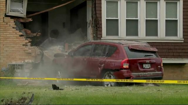 AN SUV smashed into a home early Thursday morning in Milwaukee.The driver of the SUV told police she blacked out and remembers little. (May 26)