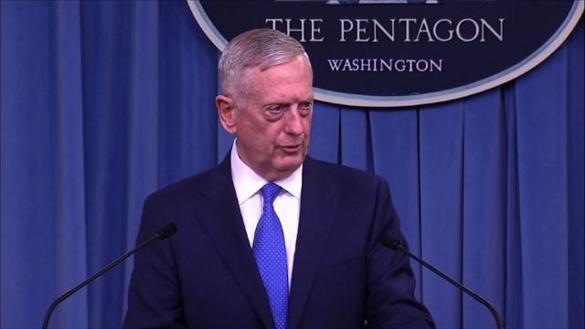 """Pentagon chief Jim Mattis delivers a somber caution on North Korea, saying any military attempts to resolve the crisis would be """"tragic on an unbelievable scale."""" Video provided by AFP"""