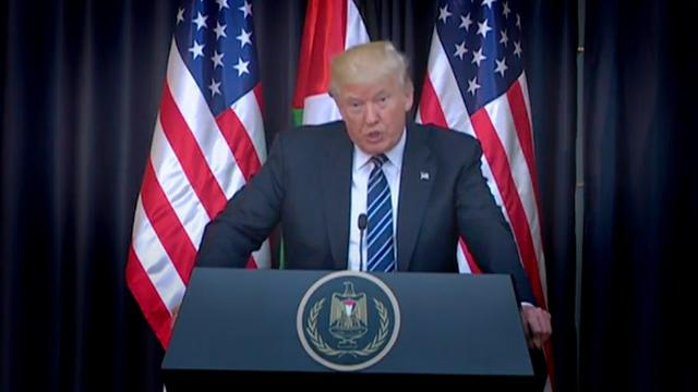 """Speaking in Bethlehem after a deadly bombing at an Ariana Grande concert in Manchester, England, President Trump called the terror attack the work of """"evil losers."""""""