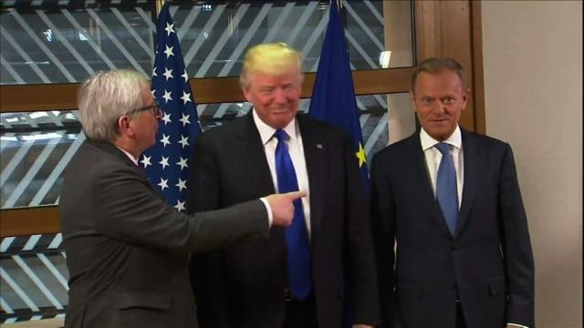 Trump arrives for his first ever talks with EU Council President Donald Tusk and European Commission head Jean-Claude Juncker, who will argue for the benefits of open trade and the Paris climate agreement. IMAGES Video provided by AFP