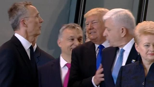 President Donald Trump appeared to push himself past the prime minister of Montenegro during a tour of NATO's new headquarters. (May 25)
